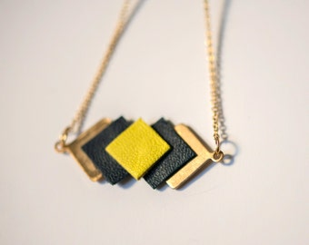 leather and metal golden necklace square yellow and blue-green tree