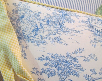 Daybed Bumper Pillow ~ Blue & White ~ Mattress Ticking Stripe, Toile du Jouy, Gingham ~ Removable Pillow Centers, House of Hatten