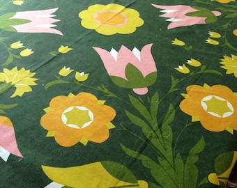 Dark green vintage tablecloth / pink and yellow tulips / 60's style floral