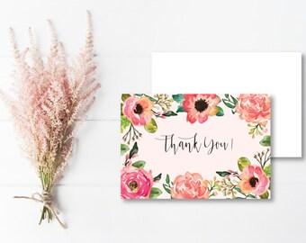 Pink Floral Thank you Cards // DIGITAL DOWNLOAD