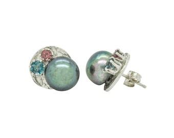 Cluster Stud- Sterling Silver with Freshwater Pearl, London Blue Topaz & Rhodolite Garnet