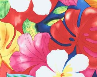 Fabric - Aloha Pink Tropical Beach Coastal Hawaii Island Polynesian Summer