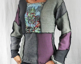 Patchwork Phoenix Graphic Sweater  Size S - M