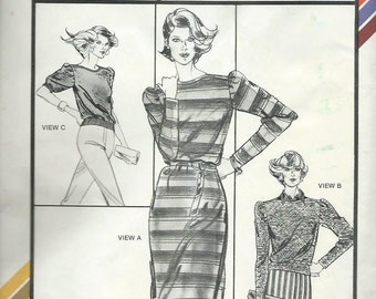 Stretch & Sew Pattern 1532, botneck dress and top, size 28-44