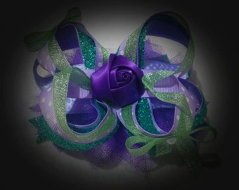 Purpe Rose Stacked Boutique Bow