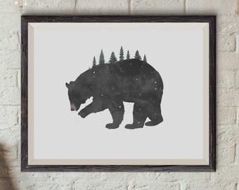 Bear Print, Black Bear Print, Black Bear Watercolor, Bear Watercolor, Bear Illustration, Forest Print