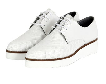 BEDAWI WHITE, Vegan Perforated Brogues, Non Leather