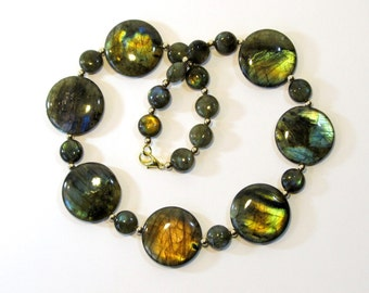 Labradorite Statement Necklace, Natural Iridescent Semi-Precious Stone Necklace in Blue, Green, and Gold, Unique Handmade Jewelry
