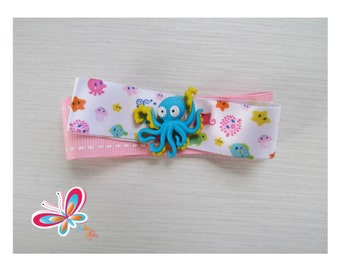 Clip hair button Octopus sailor/Pink Ribbon