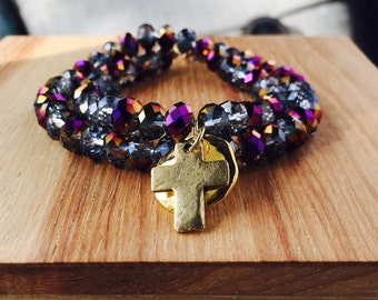 Layering Bracelet of Glass Beads and Cross