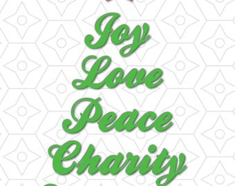 Joy Love Peace Charity Christmas Tree Decal, SVG, DXF and AI Vector Files for use with Cricut or Silhouette Vinyl Cutting Machines