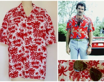 Vintage Hawaiian Shirt/ Magnum PI Cotton Aloha Shirt/ Tropical Island Print Button-down Shirt/ Summer Surf Beach BBQ/ Size S-M