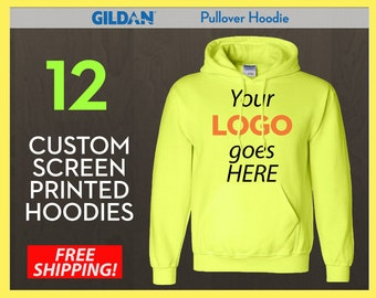 12 Custom Screen Printed Pullover Hoodies