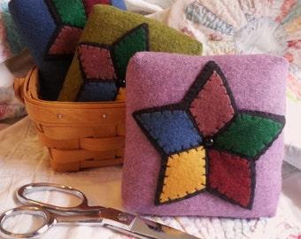 Lavender Folk Art Pin Cushion, Five Point Star Pin Cushion, Lavender Felt Pin Cushion, Stained Glass Star Pin Cushion, Box Pin Cushion, Star
