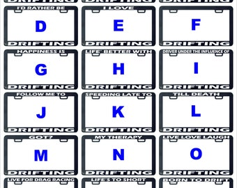Drifting drift assorted license plate frame holder tag decal sticker