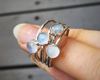Moonstone Stacking Ring, Sterling Silver and Rainbow Moonstone Stacking ring, Stackable Moonstone Ring
