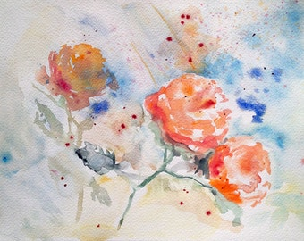Orange Rose Expression Watercolour Painting Decorative Element for a Living Room Bedroom or Kitchen Watercolour Art