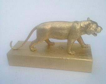 Gold Decorative Tiger Statue - Bookend - Animal Paperweight