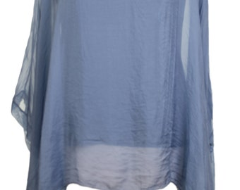 New Italian LAGENLOOK Oversized blue Print Batwing KAFTAN SILK Top tunic