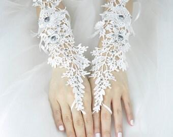 Wedding Gloves, Lace Gloves, Fingerless Gloves, bridal gloves,Bridesmaids Gloves, Bride gloves, Rhinestones Fingerless Gloves, LC16001