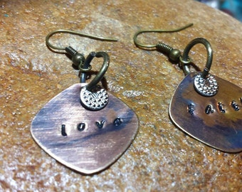 Beautiful Disc Hand stamped Earrings