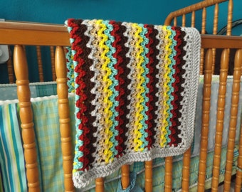 Crochet stripe baby blanket, gender neutral, small size, car seat, stroller, crib.  READY TO SHIP!