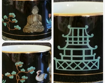"""Fitz and Floyd """"Chinoiserie"""" Cup and Saucer - Set of 2 - Pagoda, Buddha, Birds, Flowers, Oh My!"""