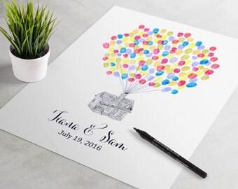 Wedding Guest Book: Up House fingerprint guest book for wedding similar to fingerprint tree. thumbprint tree, guest book alternative