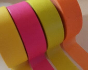 Set of 4 Neon Washi Tape-yellow, pink, lime green and orange