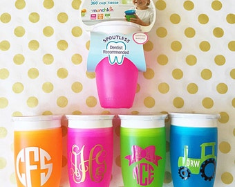 Munchkin 360 sippy cup  toddler baby monogram initials personalized gift spill proof