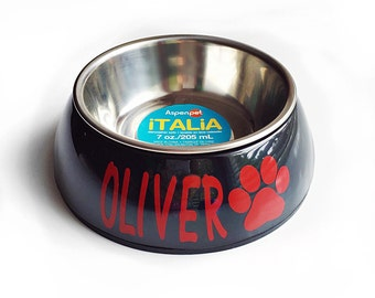 Small 7 oz dog bowl pet cat puppy food water black personalized