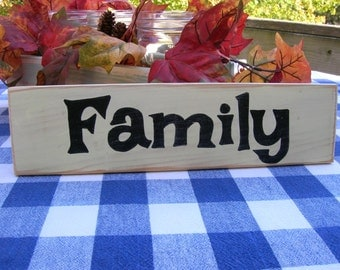 Family Wood Sign - Shelf Decoration - Rustic Cream and Black Sign