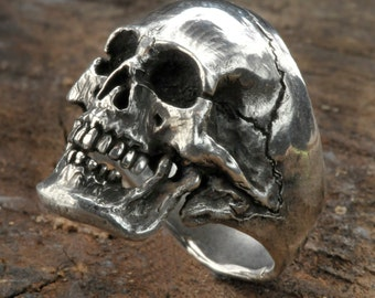 Skull Ring, Small / Medium Size Full Skull Ring, Silver skull ring,Mens Sterling Silver Skull ring,Pirate ring, .925, Etsy,