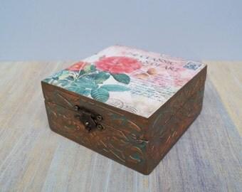 Wooden jewelry box Postcard original box wood box home decor decoupage box home decor handmade box jewelry storage jewelry holder bronze