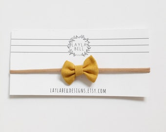 Mustard Fall Cotton Bow Headband, Baby Nylon Headband, Newborn Headband, Mustard, Fall, Photography, Nylon Cotton Bow