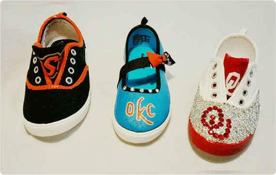 sports fan stitched painted gemmed shoes by