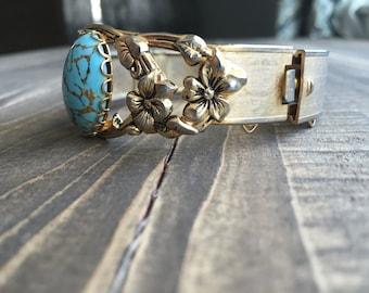 Vintage Turquoise centered bracelet with floral detailing