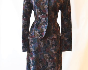 Vintage Jaeger Velvet Suit Skirt Suit Ladies' Suit Size 12