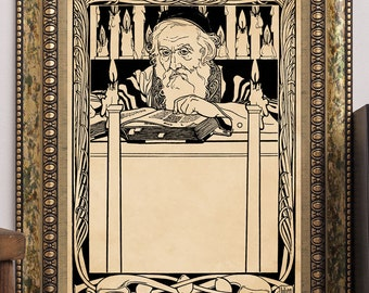 "E.M. Lilien 1902 ""Songs from the Ghetto"" Jugendstil Art Print #6 Art Nouveau Yiddish Jewish Judaic Antique Book Illustration Rabbi Torah"