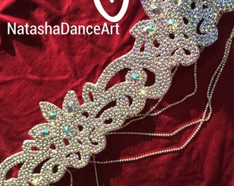 Belly Dance Belt - Bellydance Costume-Custom-Made- Rhinestone Belt- Dancing belt