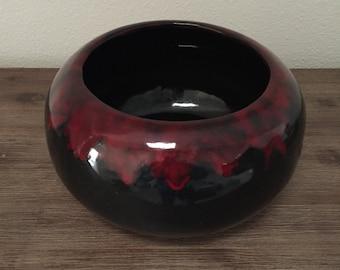Vintage Planter; Frank Moreno Ceramics Red & Black Pottery Planter; Frank Moreno USA California Pottery; Ceramic Planter; Glaze Drip Pottery