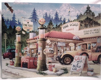 Old fashion gas station puzzle.