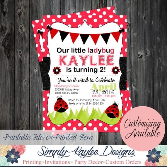 Ladybug Birthday Invitation Ladybug By SimplyKayleeDesigns