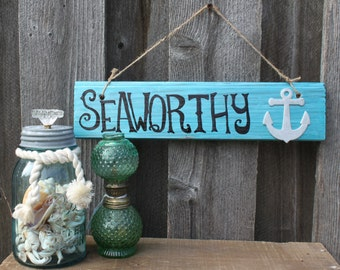 """Hand-Painted """"Seaworthy"""" Wooden Sign"""