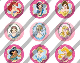 Disney Princess Faces digital collage sheet 4x6 for bottlecaps - 1 inch - INSTANT DOWNLOAD