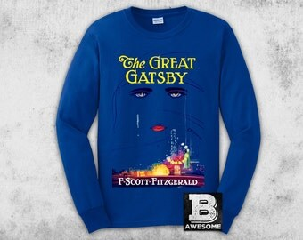 Great Gatsby Long Sleeve T-Shirt, Vintage Book Cover Shirt, Literature Tee, Gatsby Christmas gift, book lover gifts, literature shirts