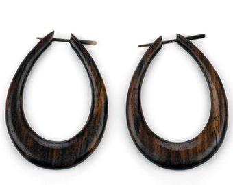Large Oval Hoops Sono Wood Post Earrings - Organic Hand MadeTribal