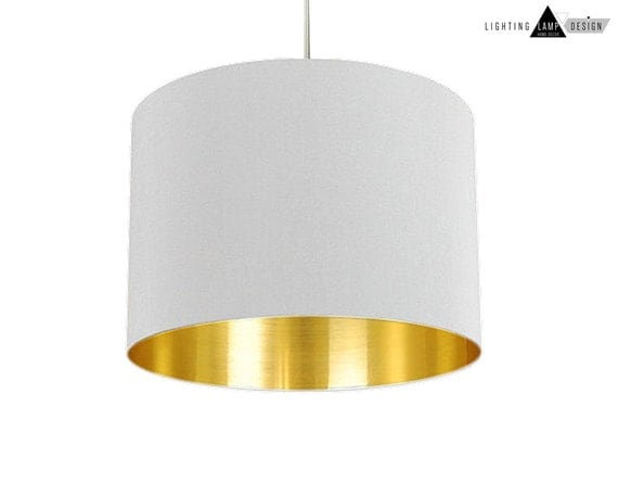 free shipping white lamp shade gold by lightinglampdesign. Black Bedroom Furniture Sets. Home Design Ideas