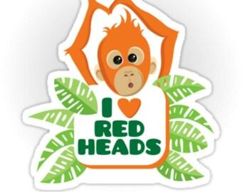 I Love Redheads decal bumper sticker