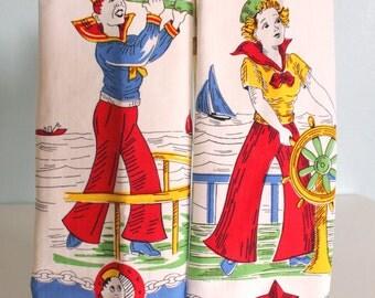 Vintage Sailor Girl and Boy Tea Towels